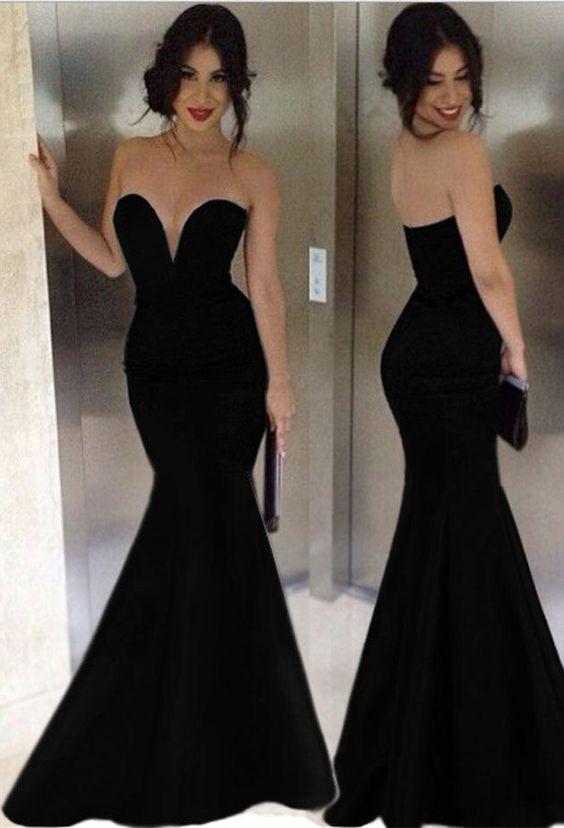 black Prom Dresses,sweetheart prom dress,mermaid prom Dress,long ...