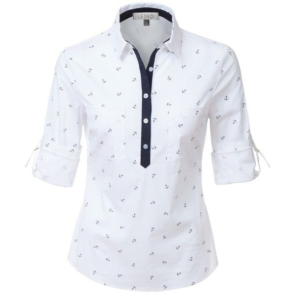 le3no womens nautical roll up long sleeves half button