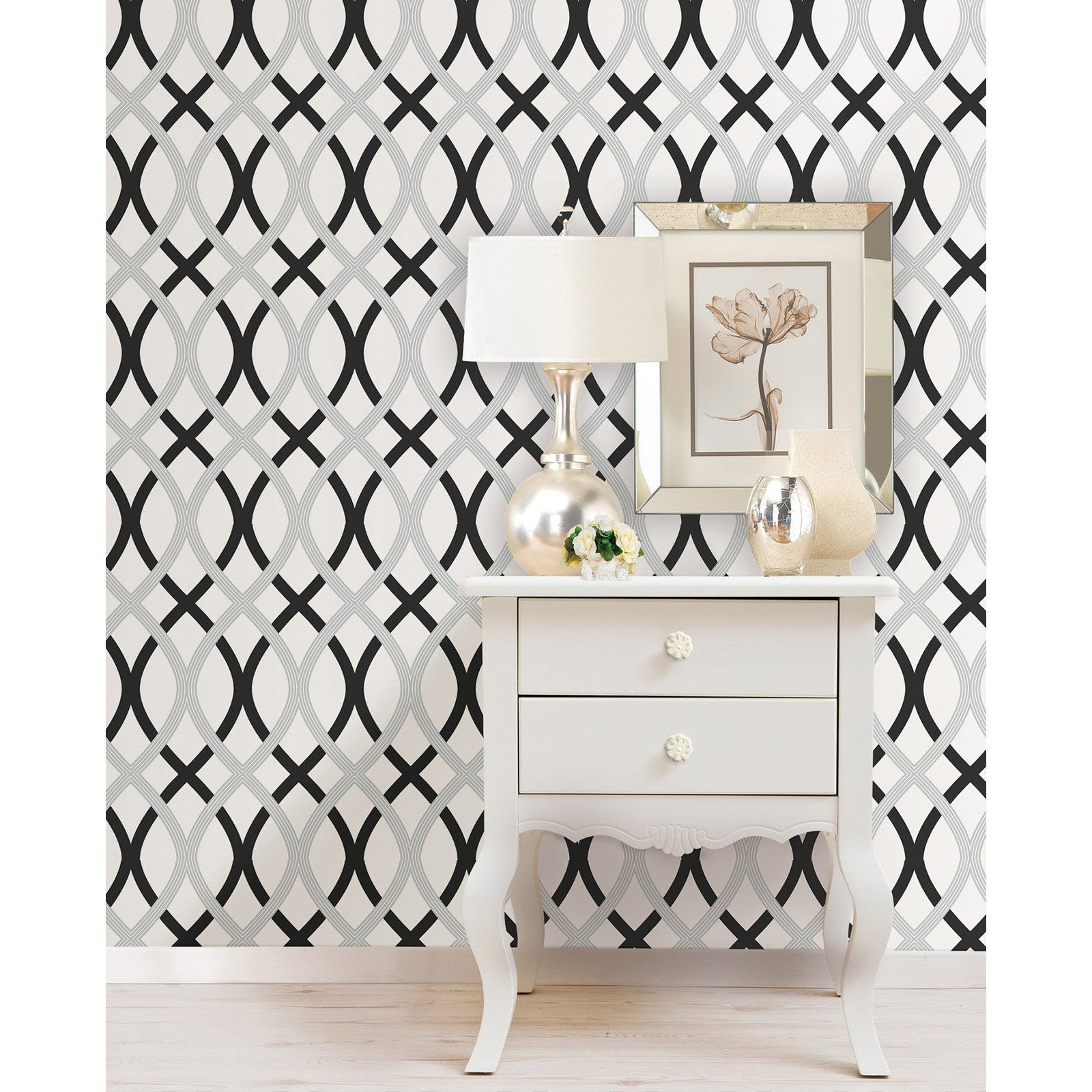 Brewster Black And Silver Lattice Peel And Stick Wallpaper Peel And Stick Wallpaper Nuwallpaper Silver Lattice Wallpaper