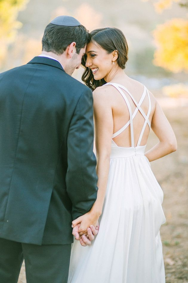 Stylish & Romantic Jewish Vineyard Wedding | Backless wedding ...