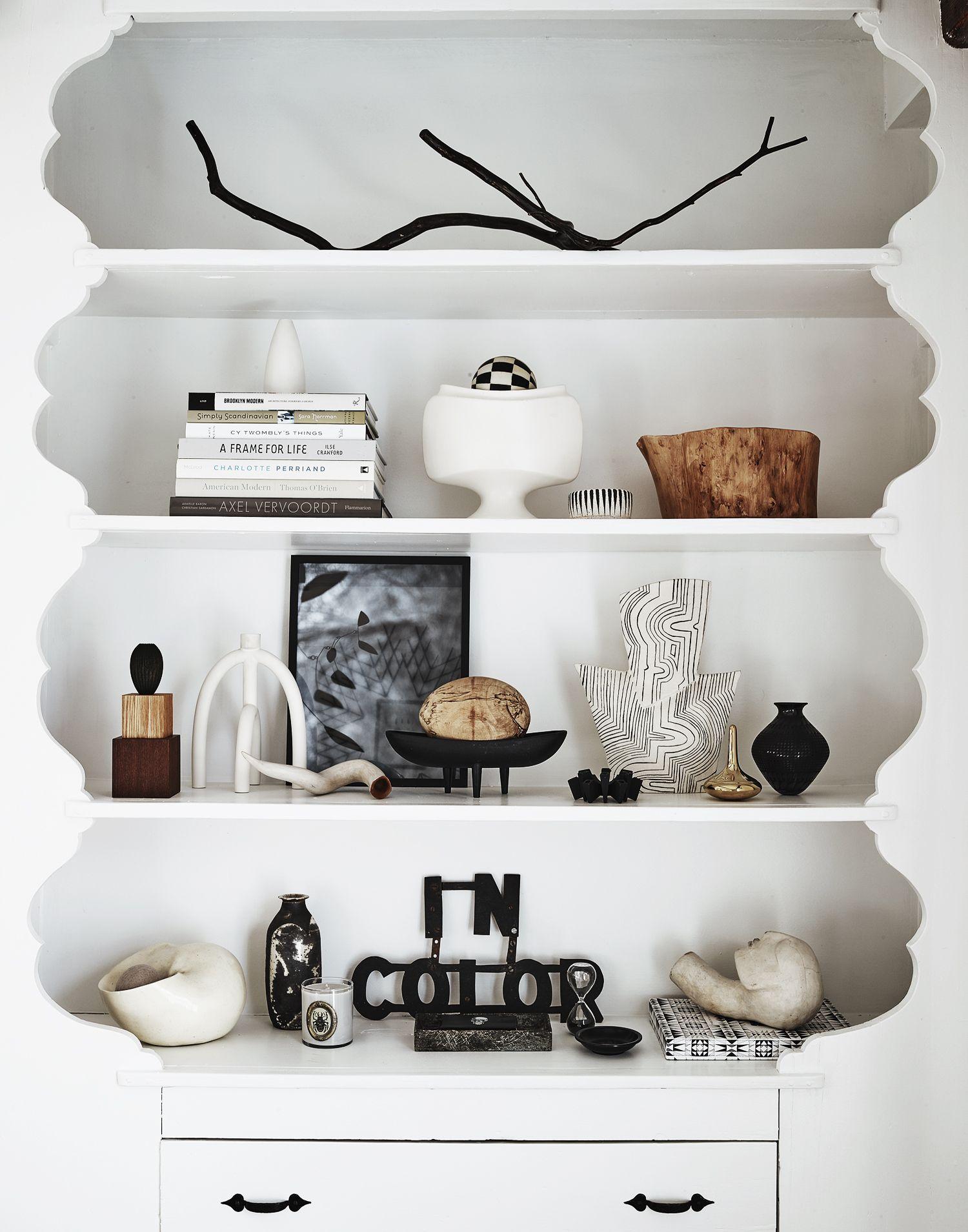 Grey Dove Design    Bookcase, Shelfie, Black and White Interior. Photo by David Prince.