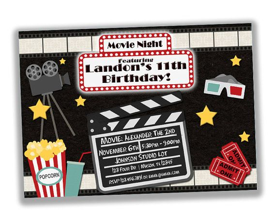 Movie Night Invitation Movie Party Invite Movie Birthday