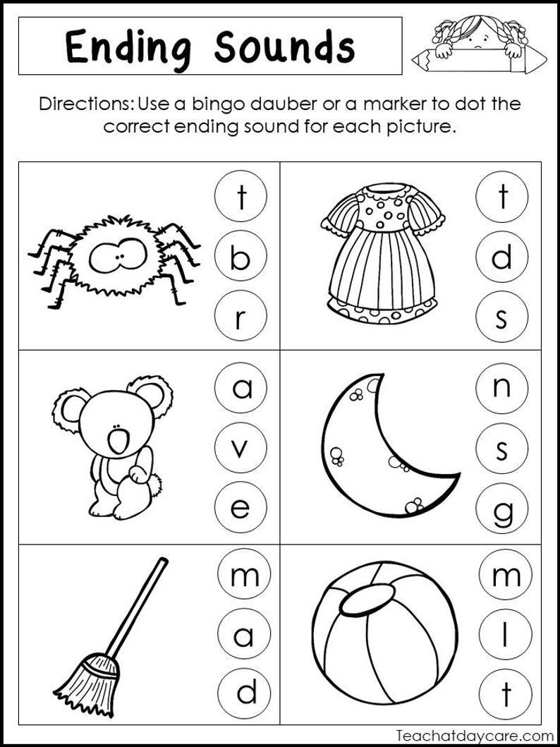 10 Printable Ending Sounds Worksheets Preschool 1st Grade Etsy Kindergarten Literacy Worksheets Literacy Worksheets Kindergarten Worksheets [ 1059 x 794 Pixel ]