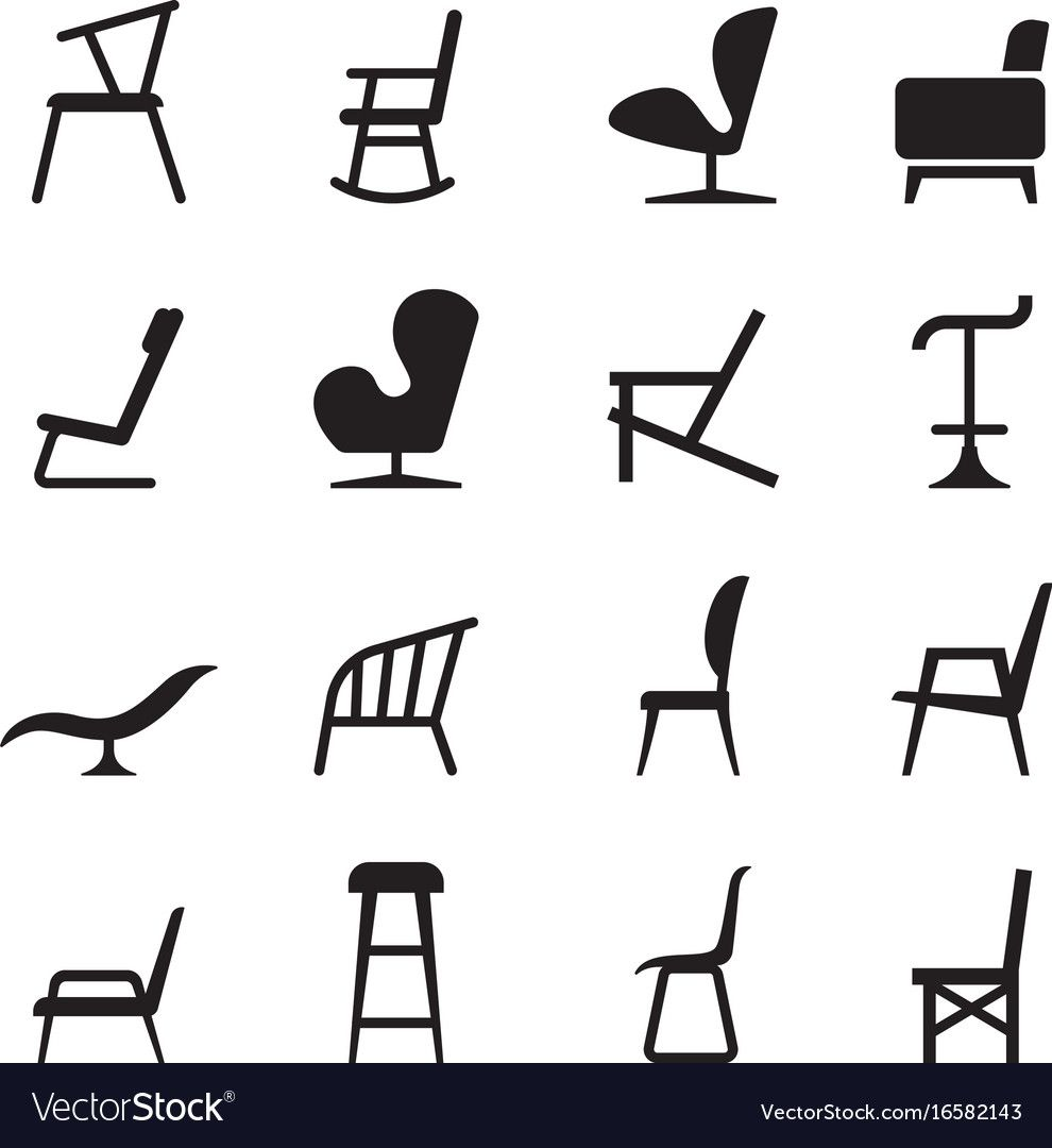 Chair Icons Vector Image On Vectorstock Chairs Logo Interior Designer Logo Bean Bag Chair Pottery Barn