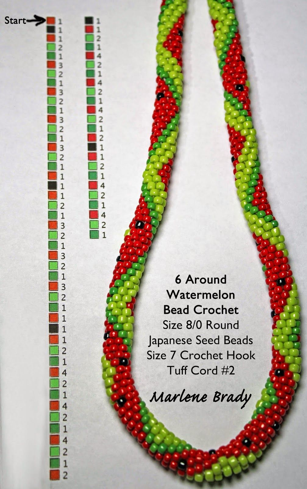 Marlene Brady: Watermelon Pattern 6 around | bead crochet ...