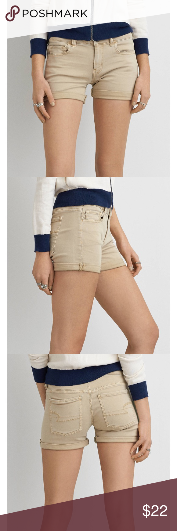 American Eagle Midi Shorts These shorts can be dressed up or dressed down. They are great for the spring season. They are size 6! American Eagle Outfitters Shorts Jean Shorts