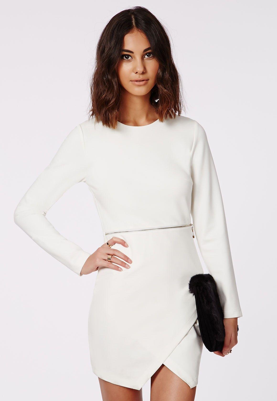 Missguided queenie long sleeve zip waist shift dress ivory fall