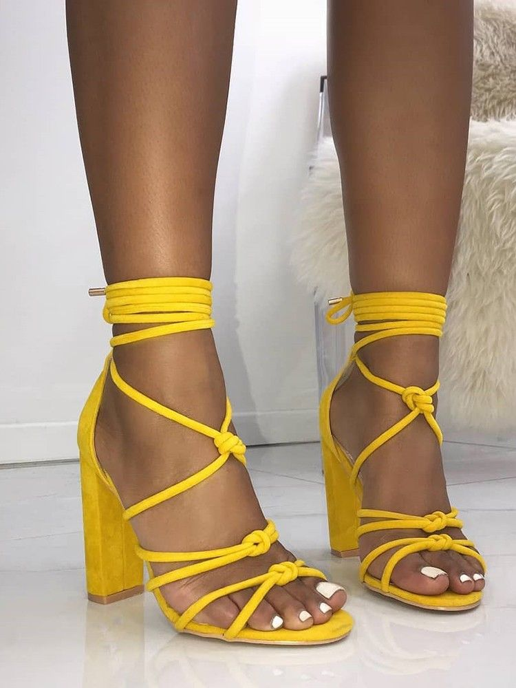 fbce54a3a6 Shop Knot Strappy Chunky Heels Sandals right now, get great deals at  Joyshoetique.