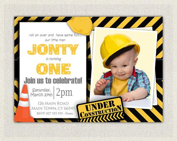 construction theme 1st birthday invitation boys yellow and black