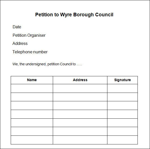 Sample Petition Forms To Print  Petition Template  Download