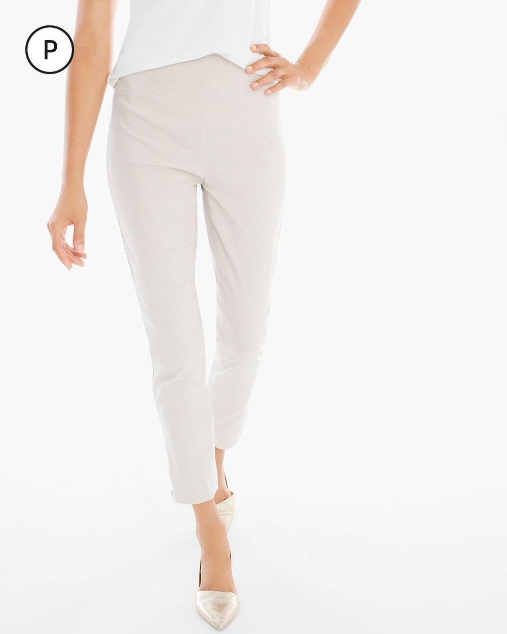 Chico's Women's So Slimming Petite Brigitte Dot Print Ankle Pants, Cement, Size: 3.5P (18P - XL)