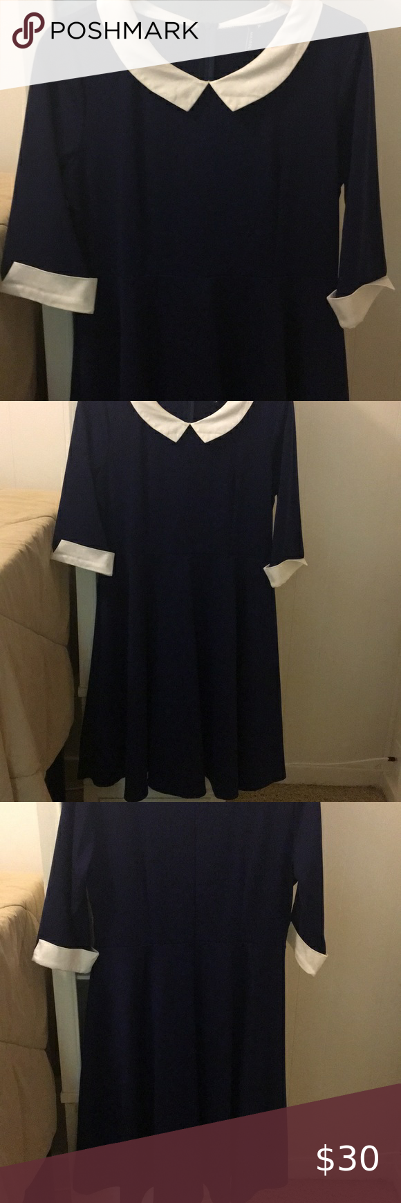 Navy Dress With White Collar And Cuffs Navy Dress Collar And Cuff Cocktail Party Dress [ 1740 x 580 Pixel ]