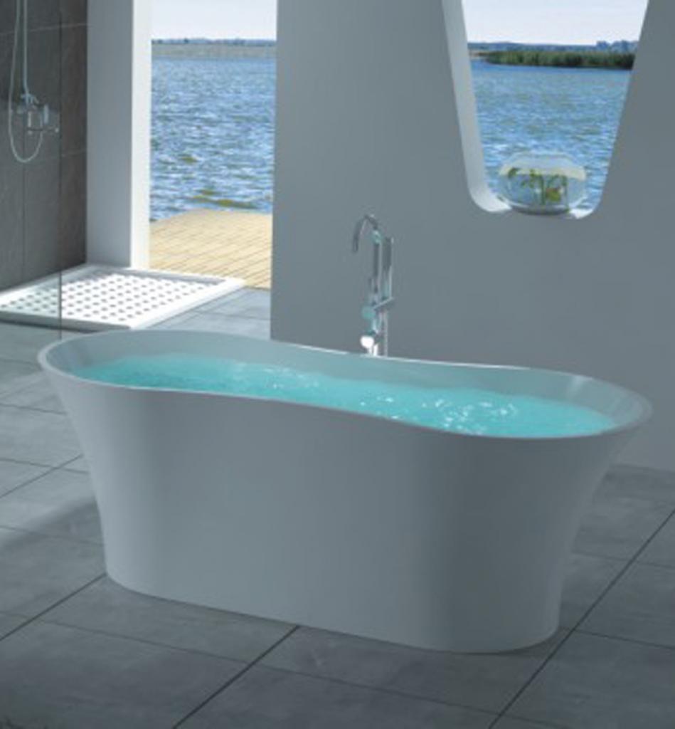bathtubs   Florence Freestanding Stone Bath (Gloss White Finish) [TC ...