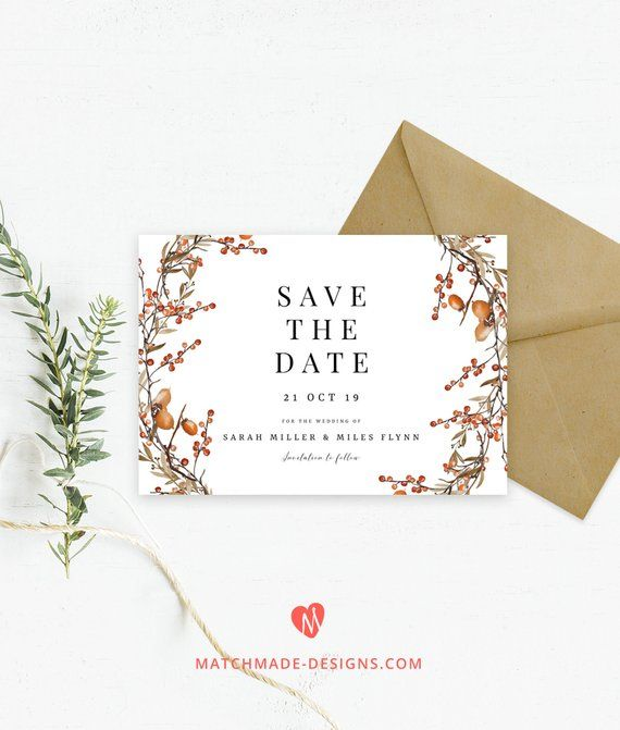 Print Your Own Diy Fall Save The Date Card With This Easy Online Template Click Through Save The Date Templates Wedding Stationery Printable Wedding Envelopes