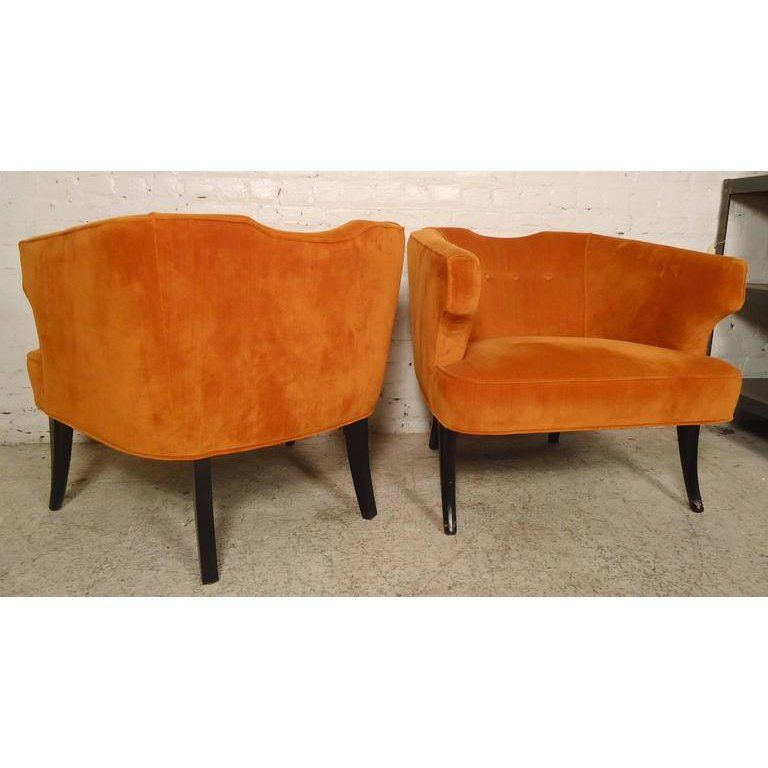 Pair Of Vintage Modern Upholstered Chairs With Unusual Rounded Back And Wing Style Arms Upholstered In Vib Club Chairs Upholstered Chairs Armchair