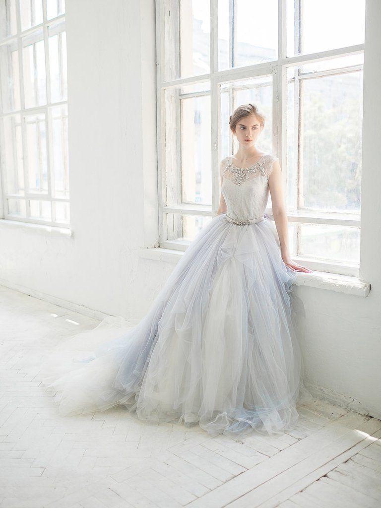 Grey lace wedding dress  Beautiful Wedding Dresses Scoop Ivory SweepBrush Train Lace Bridal