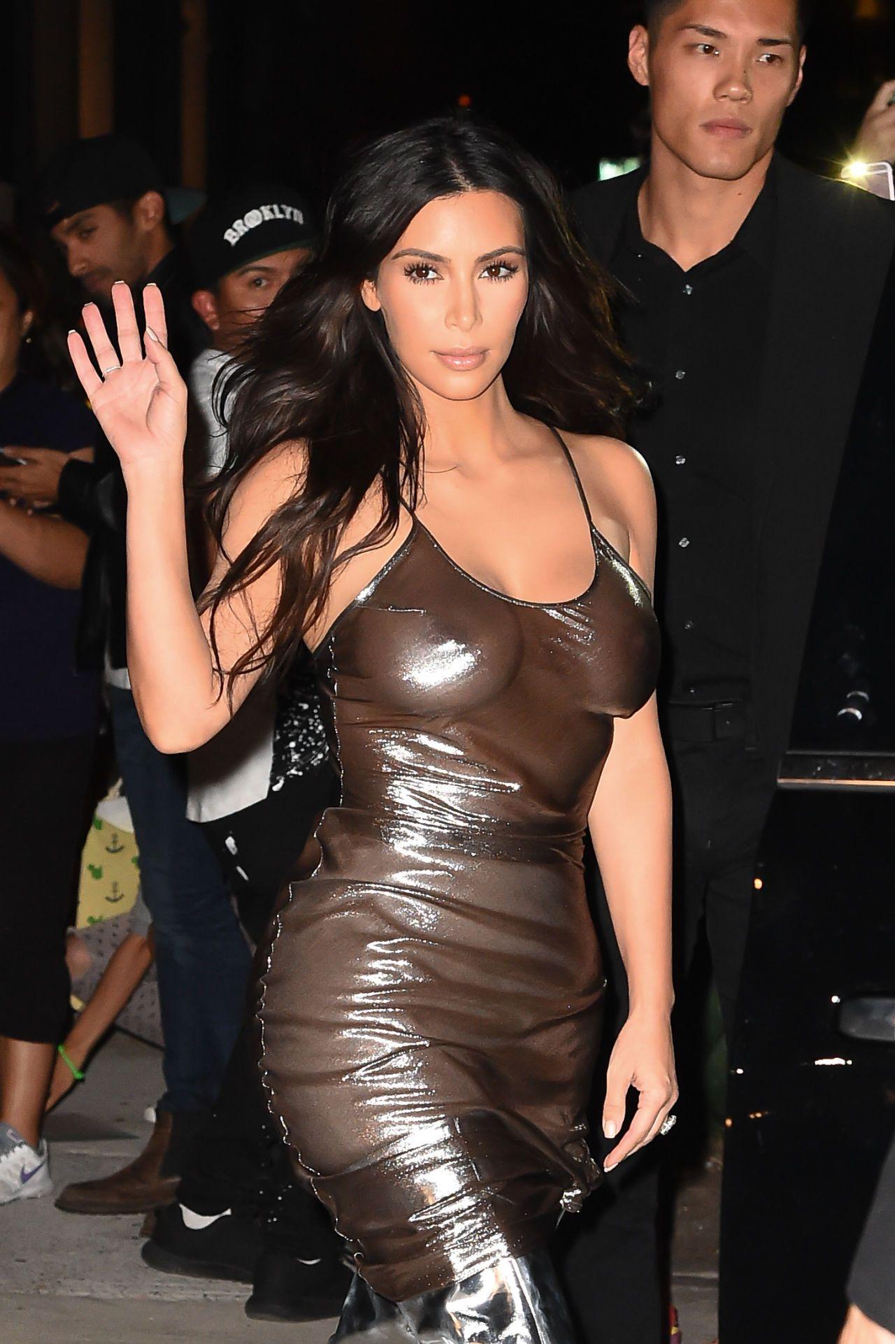 Pink cut out dress kim kardashian  Kim Kardashian Wears A Sheer Bra u OvertheKnee Boots for a Rainy