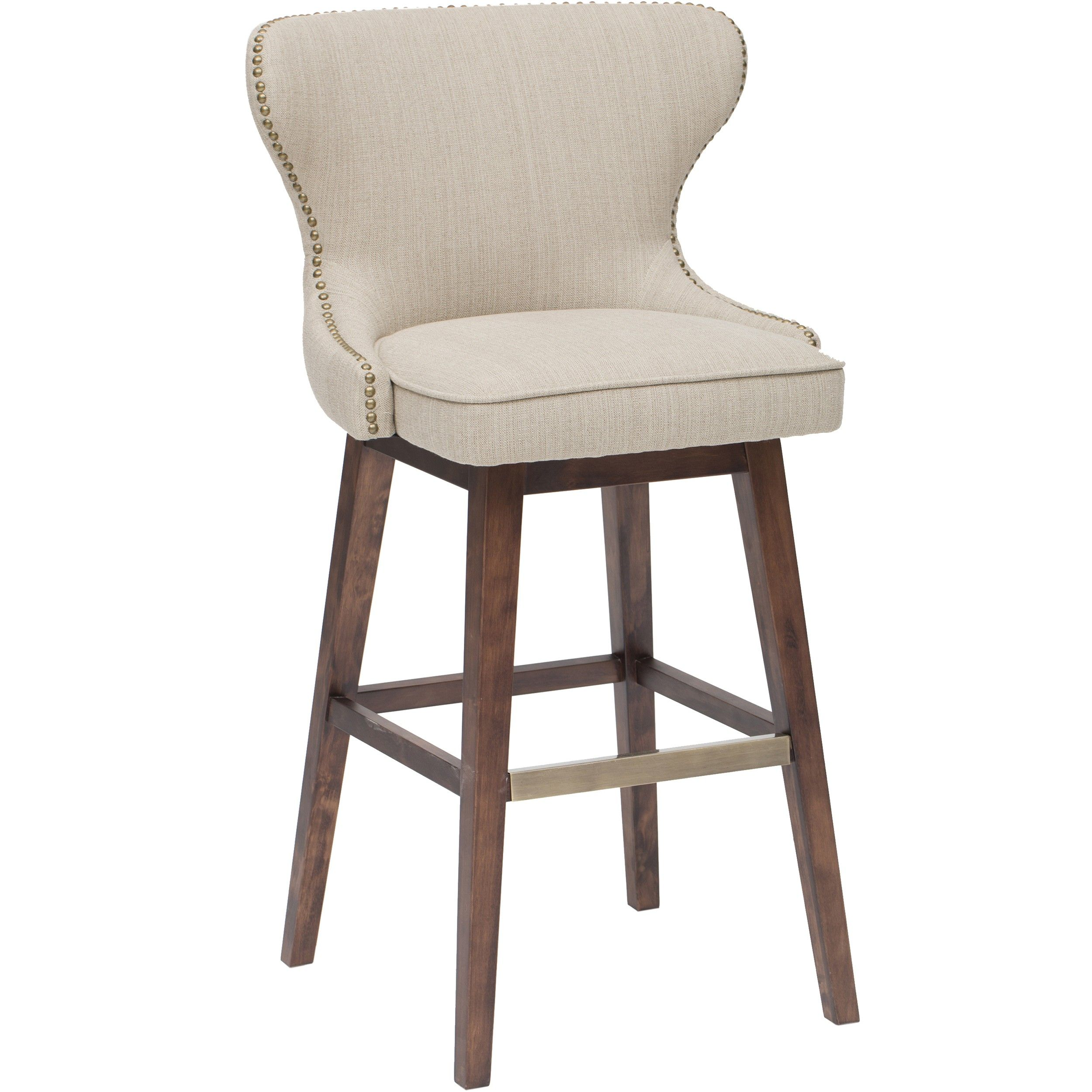 The Contemporary Julie Swivel Barstool Features A Bold, European Inspired  Design With Gold Nail Heads That Add Sophistication And Elegance.