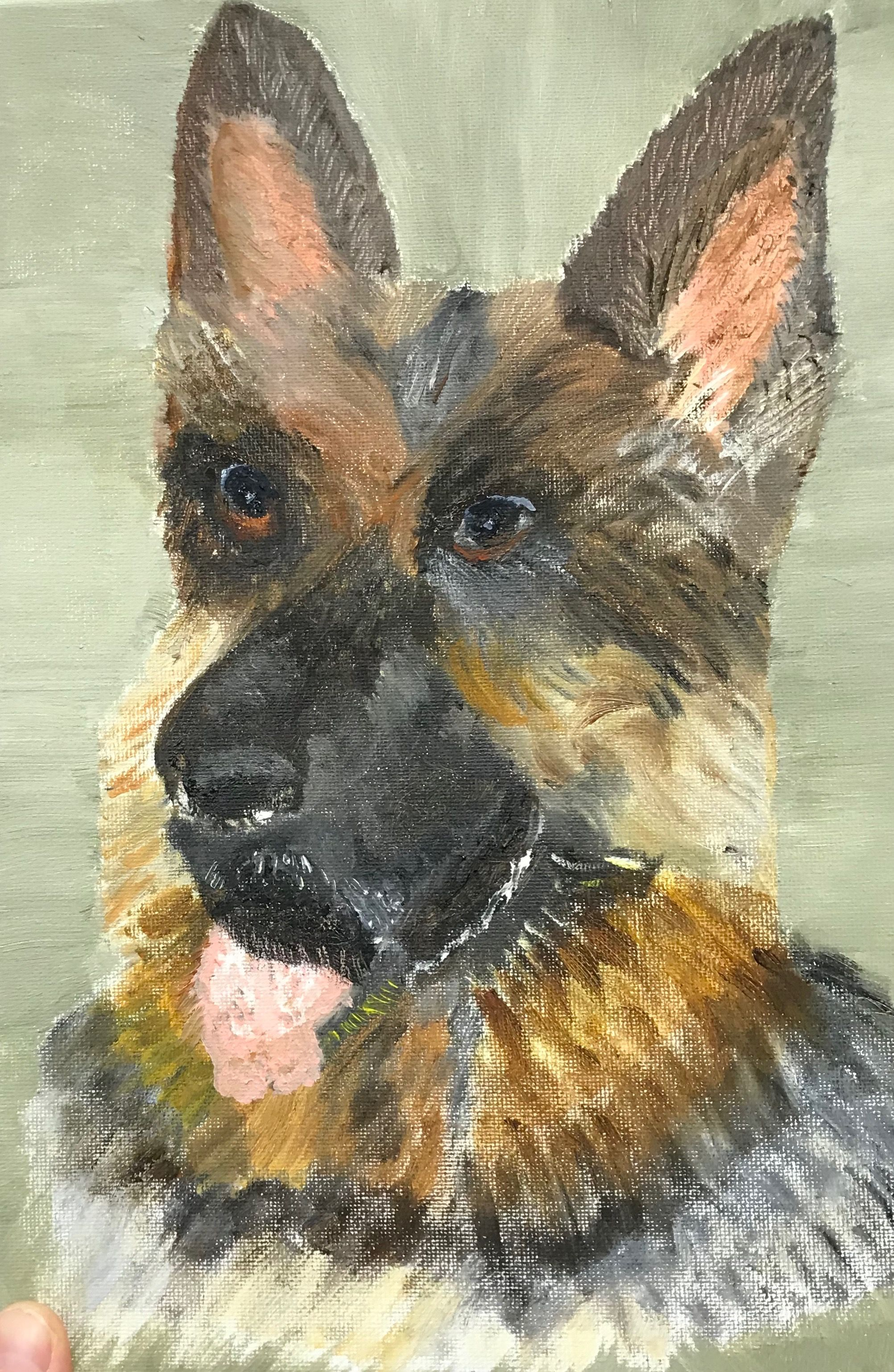Water soluble oil painting of German Shepherd dog by Dupont