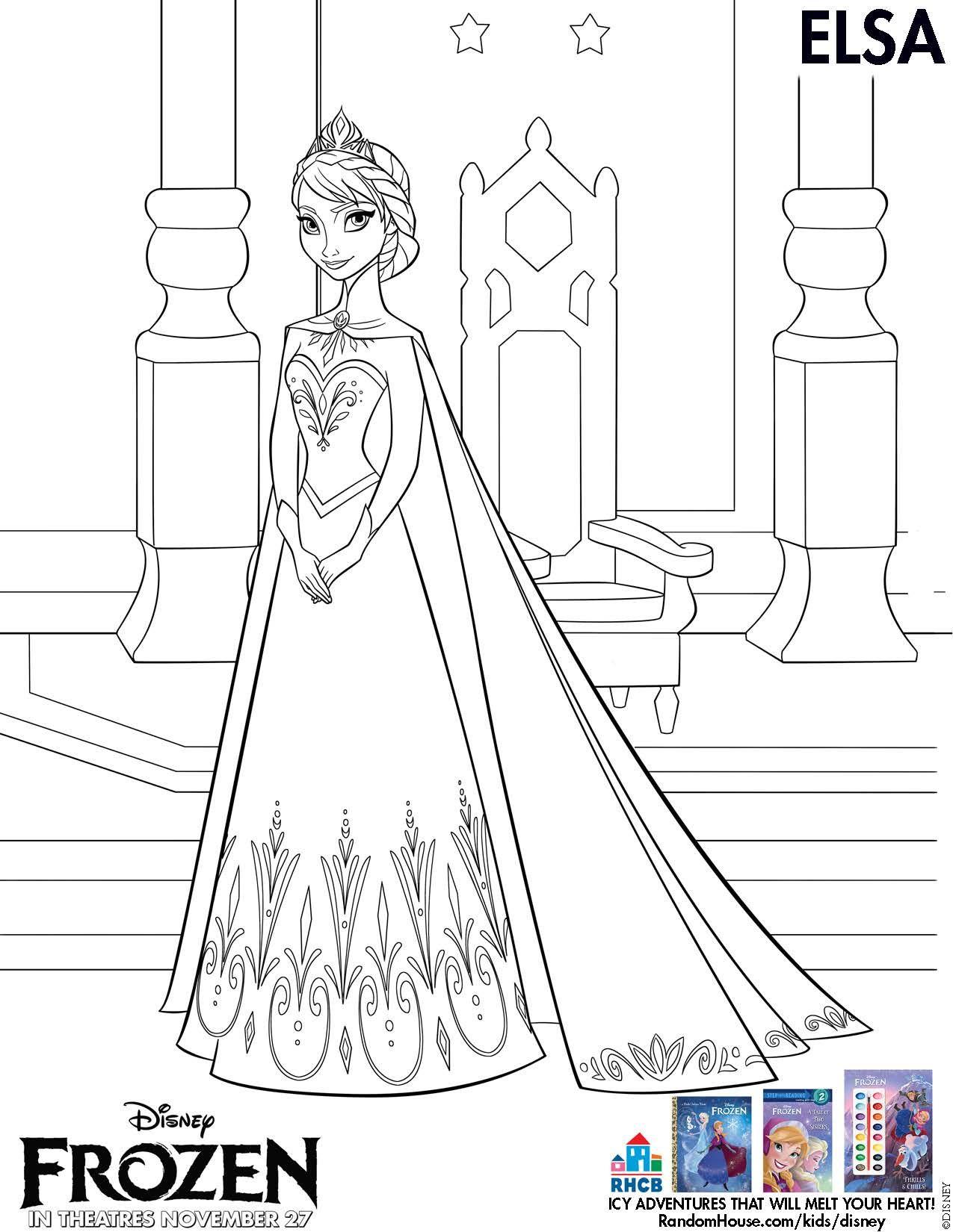 Disneys Frozen Printable Elsa Coloring Sheet
