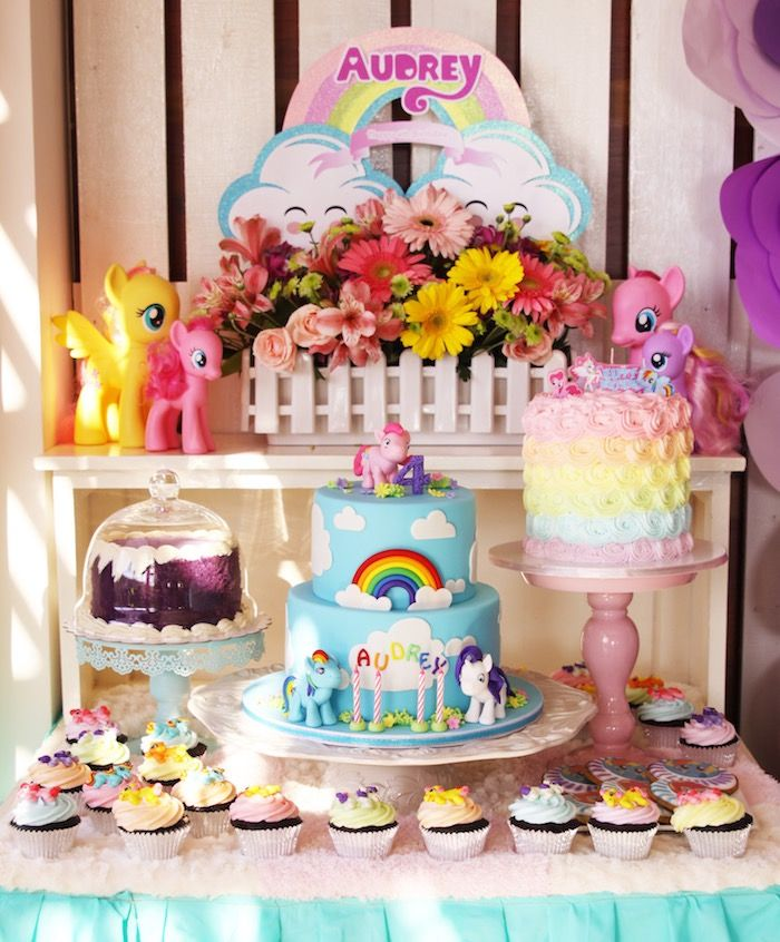 cake table from my little pony pastel birthday party at karas party ideas see more