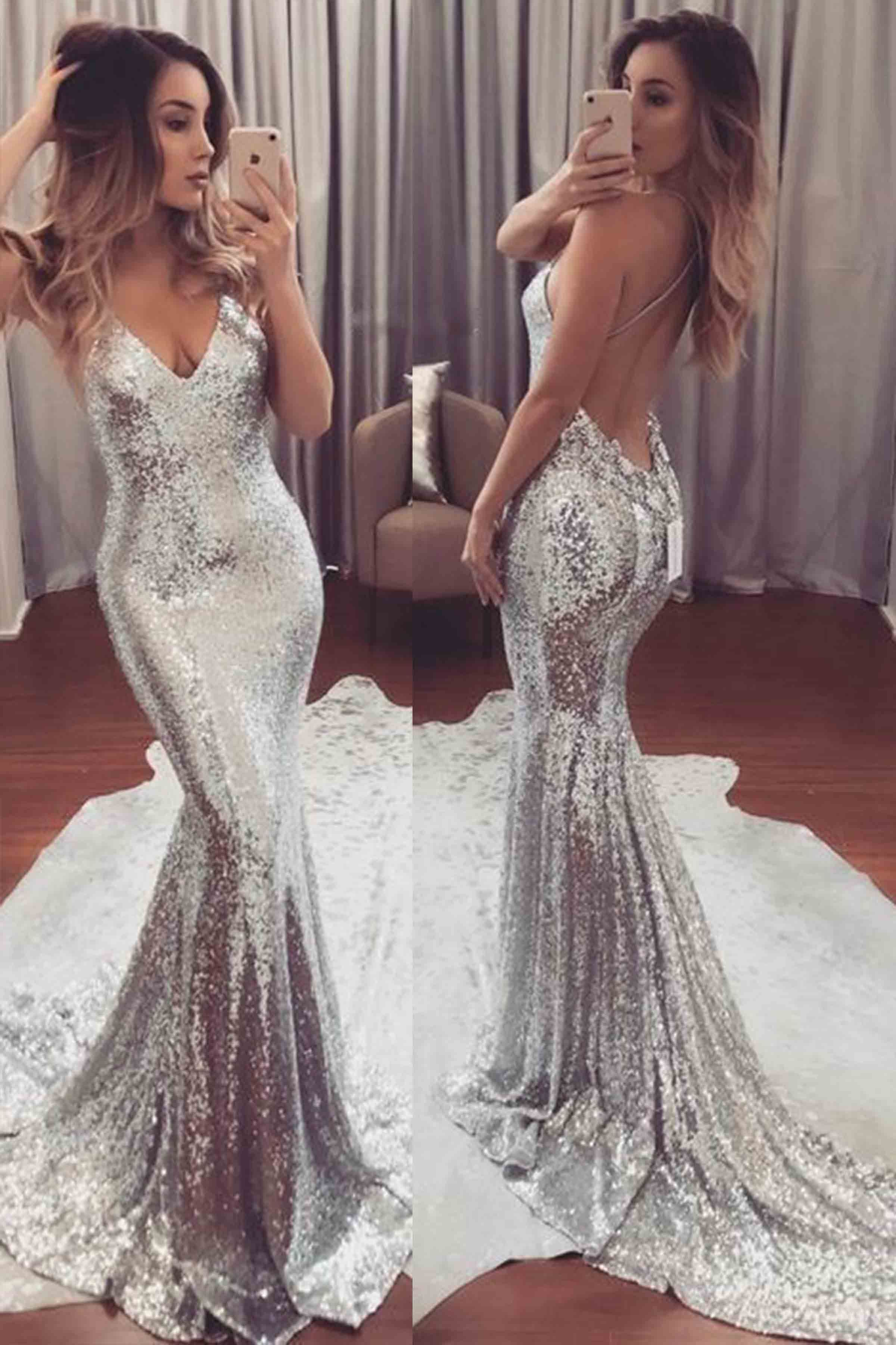 Luxury silver sequins backless vneck train prom dresses from