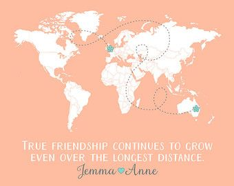 Long distance best friends custom art personalized world map best long distance best friends custom art personalized world map best friend birthday gift peach and mint gumiabroncs