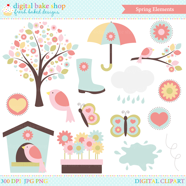 Spring Elements Clip Art - Great for your spring craft and creative projects.