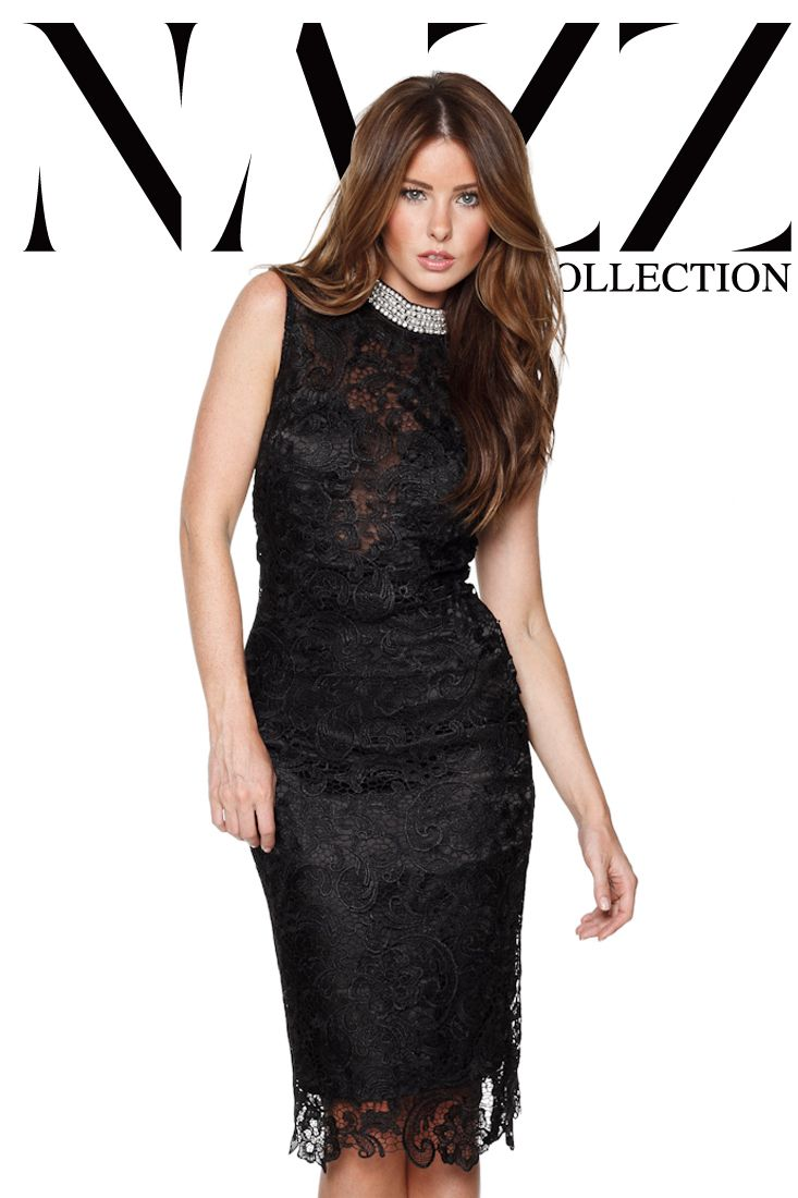 Nazz Collection Zara waxed lace sheer midi evening cocktail party ...