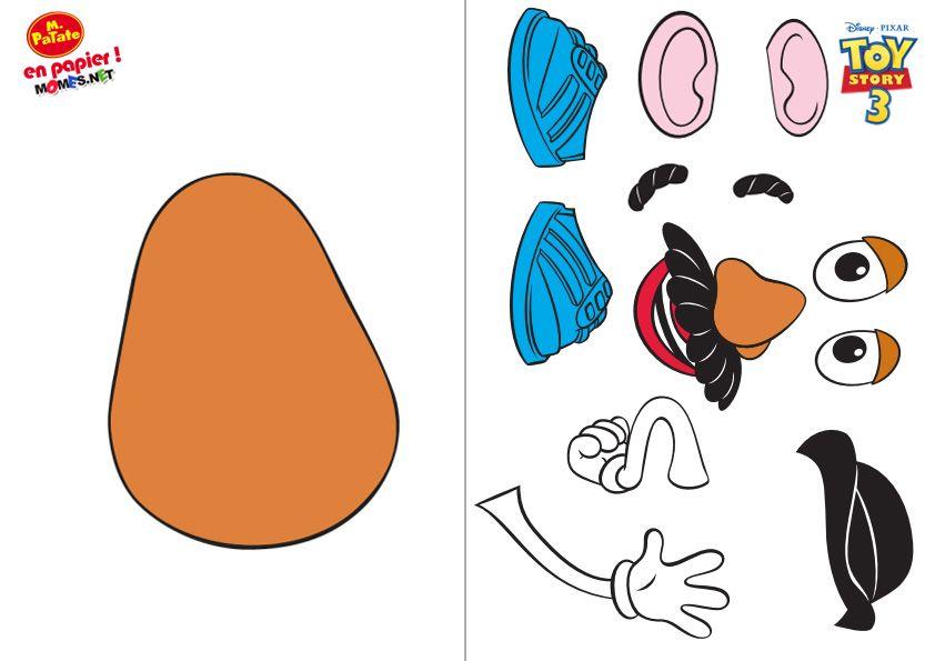 Mr patate d couper avec accessoires coller enfants pinterest felt stories and math - Monsieur patate toy story ...