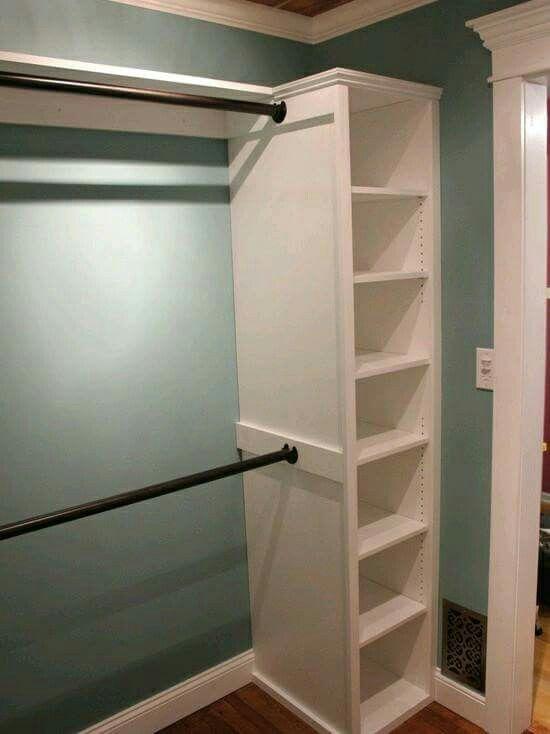 Easy Custom Closet Idea : Add A Few Ikea Shelves And Shower Curtain Rods!  Easy Custom Closet Idea : Add A Few Ikea Shelves And Shower Curtain Rods!