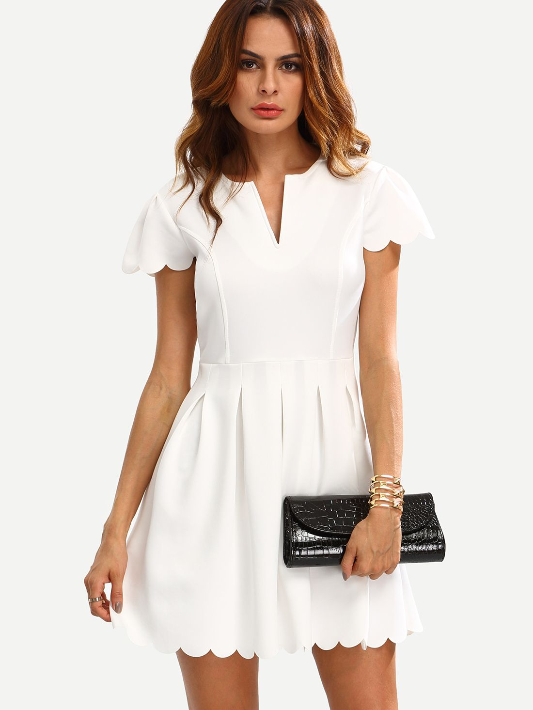 Vestido Corte V Festoneado Lnea A Blanco Faldas Pinterest Nesha Linen Pants In Olive Sheinside