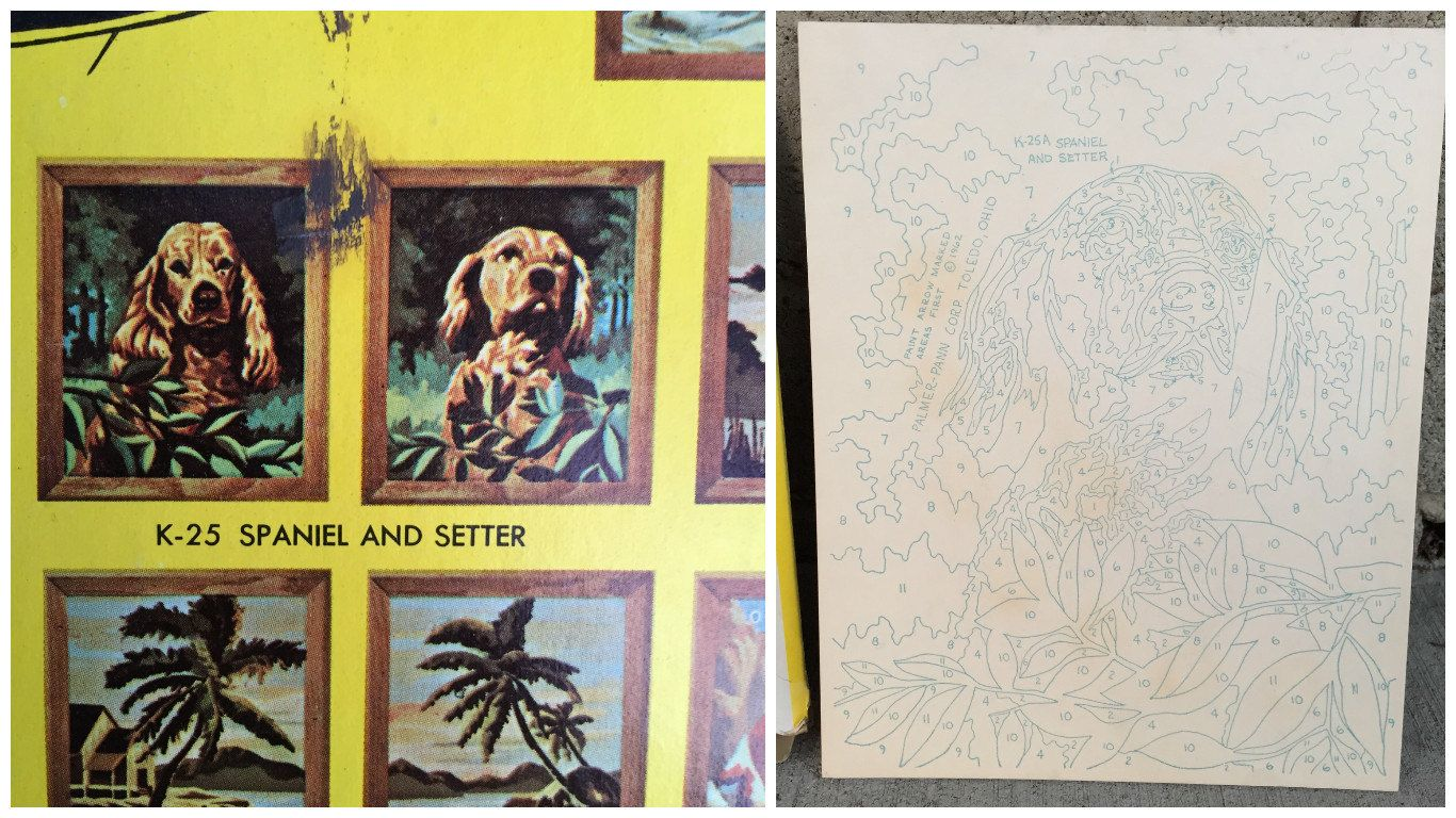 Craft master paint by number kits - 1962 Craft Master Paint By Numbers Kit K25a Spaniel Diy Painting By Elkhugsvintage