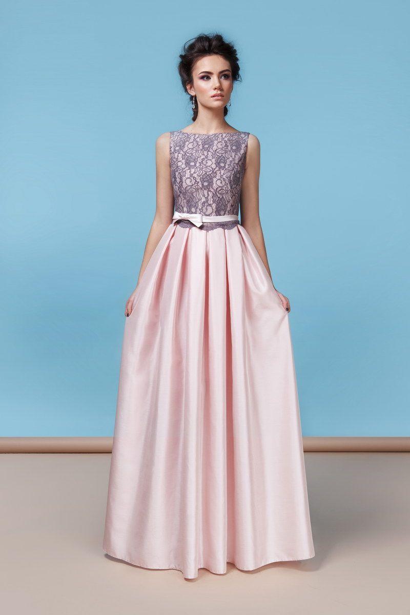 855df2be4e0 2016   Модель EMSE 0208 розового цвета с серым кружевом Платья Макси