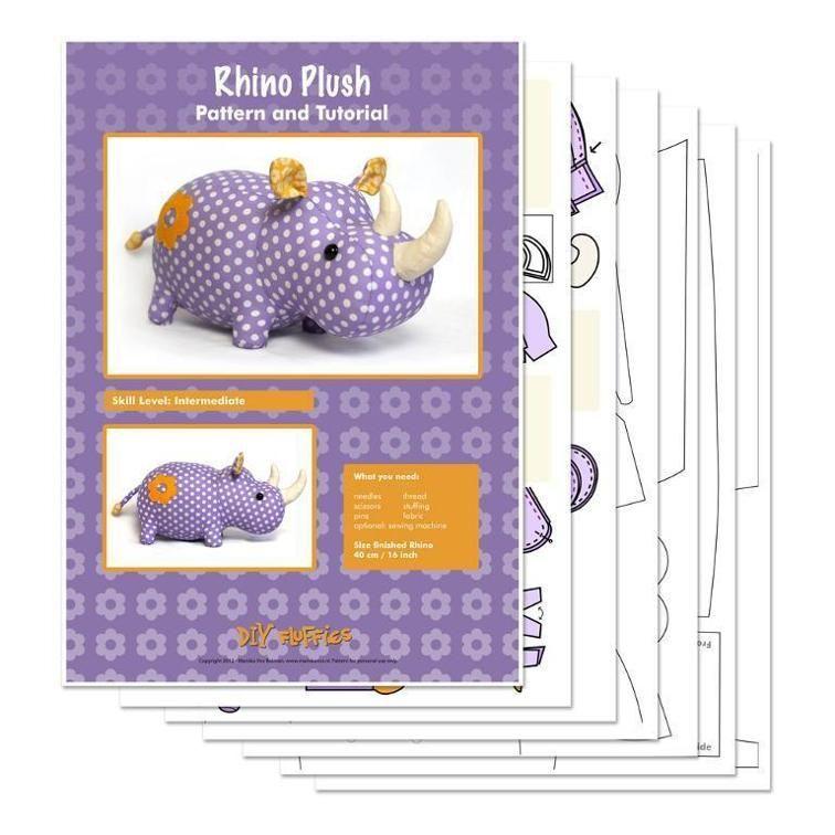 Rhino plush sewing pattern | Sewing | Stuffed toys patterns