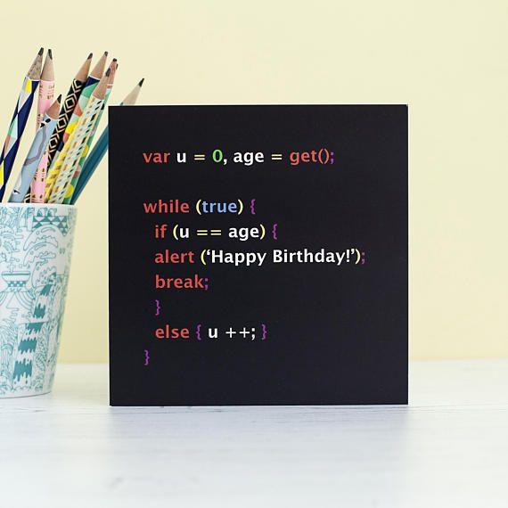 Geek Birthday Card Javascript Programmer Software Engineer