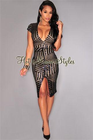 4b9c30bc235b Black Sequins V Neck Nude Illusion Dress