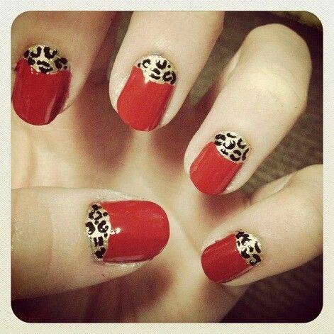 Red With Cheetah Design Nails Lunula Cheetah Moon Nails