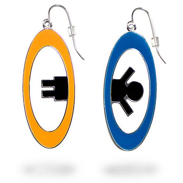 ThinkGeek :: Portal 2 Inter-Spatial Portal Earrings