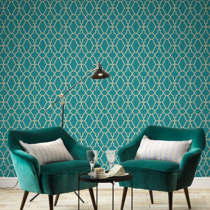 A Beautiful Trellis Themed Metallic Wallpaper Design In Teal From The Casablanca Wallpaper Collec Teal Wallpaper Bedroom Gold Metallic Wallpaper Teal Wallpaper
