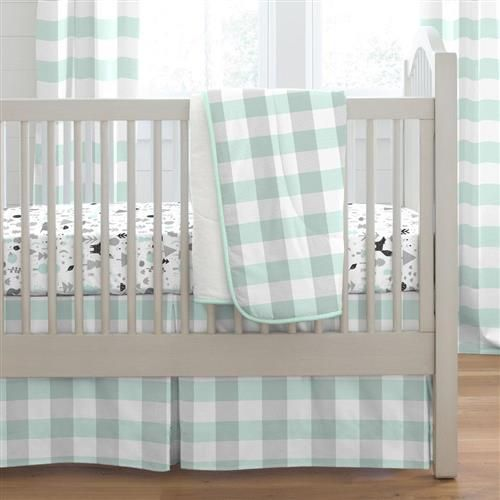 Mint Crib Bedding, Gray And Mint Green Baby Bedding