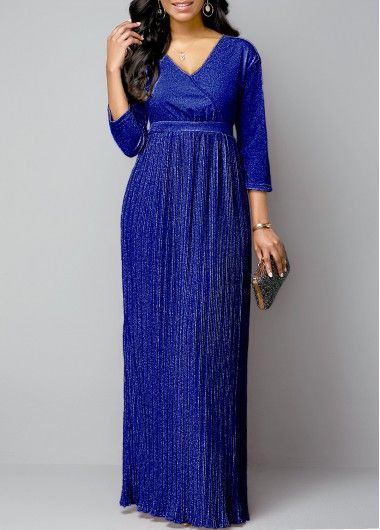 Women'S Royal Blue Three Quarter Sleeve Pleated Evening Party Dress Solid Color …