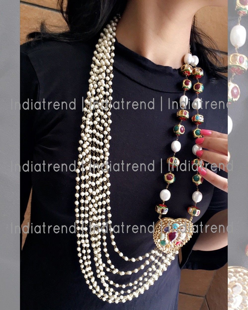 Vaibhavi navratan necklace by indiatrendshop mughal jewels
