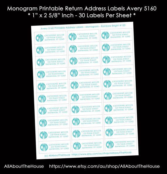monogram address label printable return address sticker avery 5160 compatible personalised custom diy printable digital