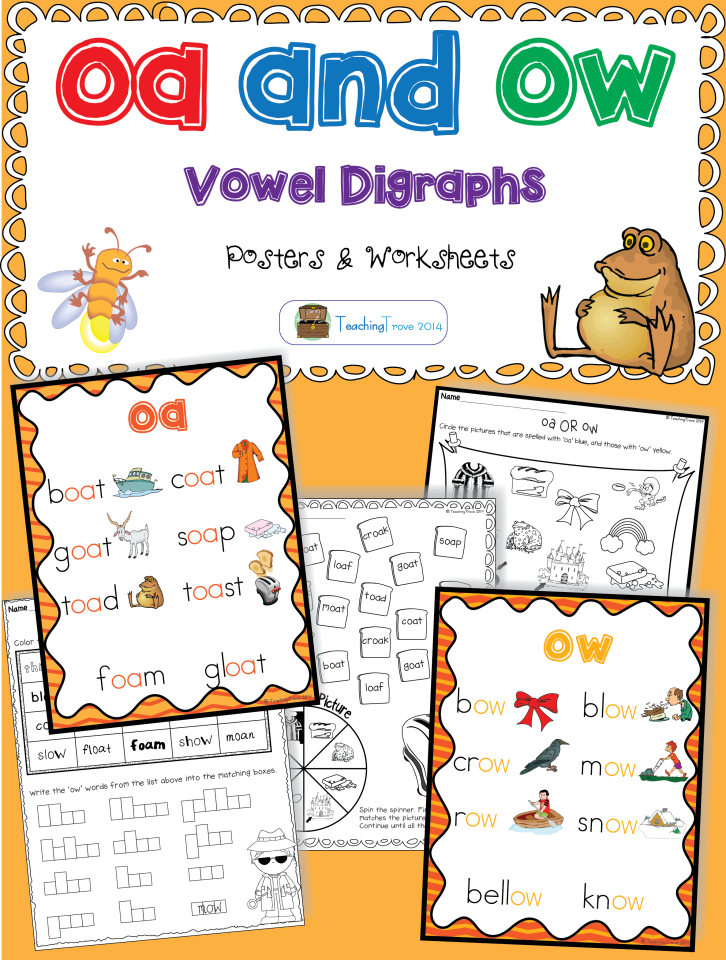 oa and ow vowel digraphs posters and worksheets classroom lst vowel digraphs first grade. Black Bedroom Furniture Sets. Home Design Ideas