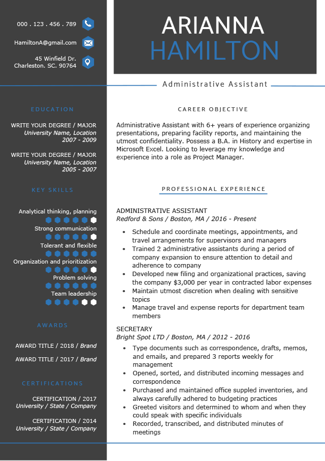 Everest Blue Resume Rg Resume Template Free Resume Template Professional Resume Templates
