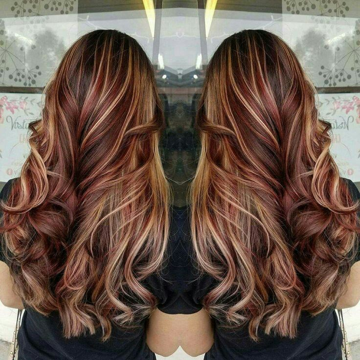 Red Lowlights Blonde Highlights Red Highlights In Brown Hair Brown Blonde Hair Brown Hair With Blonde Highlights