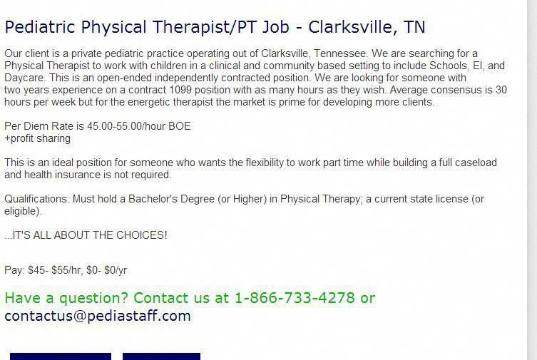 Pediatric Physical Therapist Pt Job Clarksville Tn Our Client Is