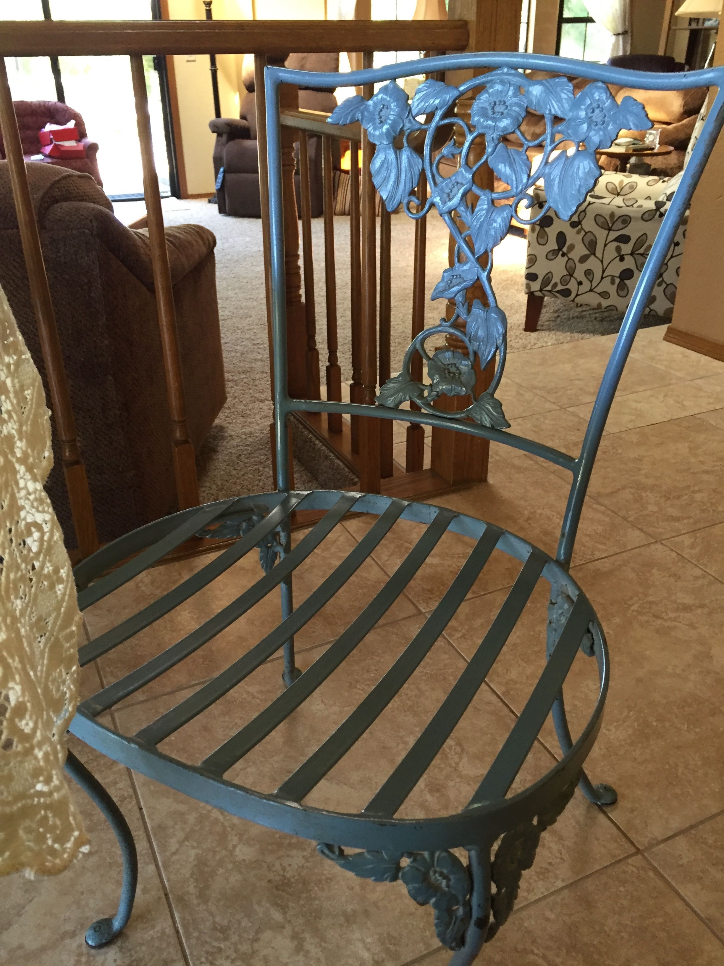 Brown Jordan Morning Glory Wrought Iron Side Chair, Brass Castings, 1950  Introduced At Bullocks Wilshire In 1950