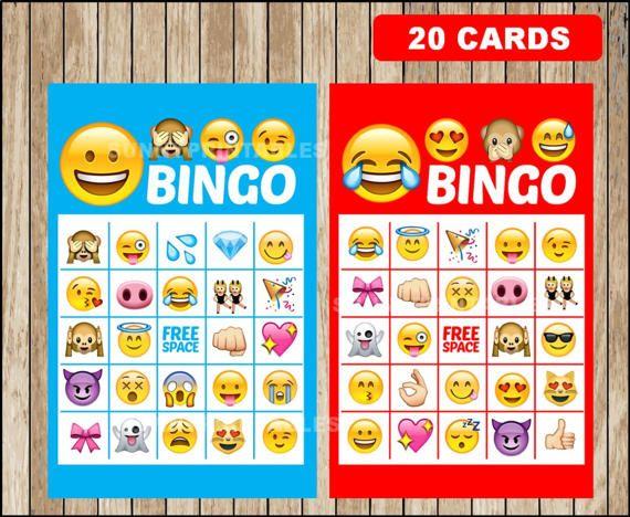 Printable 20 Emoji Bingo Cards Emojis Game Instant Dow